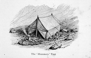 Mummery Tent with axe as pole