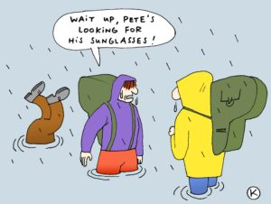 Keeping pack contents dry is challenging (CartoonStock)
